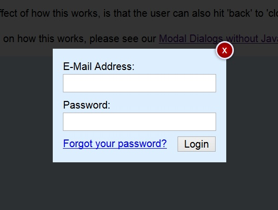 Modal Login Dialog Sample